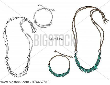 Jewelry In Ethnic Style: Bracelet And Necklace. Green Stone On A Leather Cord. Vector. Hand-drawn