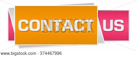 Contact Us Written Over Pink Orange Background.