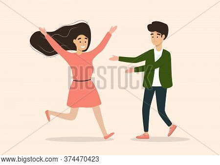 Young Friends Or Couple Are Meeting And Hugging. Girl Run To Male To Embrace Happy Couple. Vector Pe
