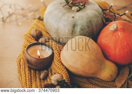 Hello Fall. Cozy Rustic Autumn Image. Pumpkins, Autumn Leaves, Candle And Acorns, Walnuts, Berries O