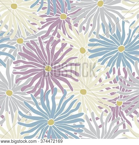 Vector Flowers In Purple Blue White Gray Scattered On White Background Seamless Repeat Pattern. Back