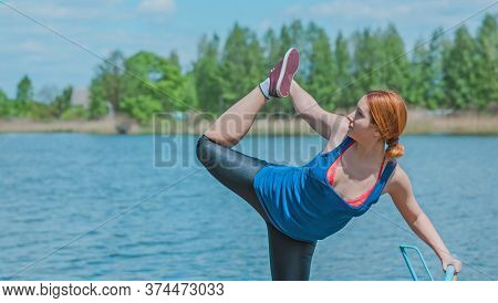 Woman Training , Doing Exercises At Nature, Loss Weight Wellness Time , Shape After Quarantine