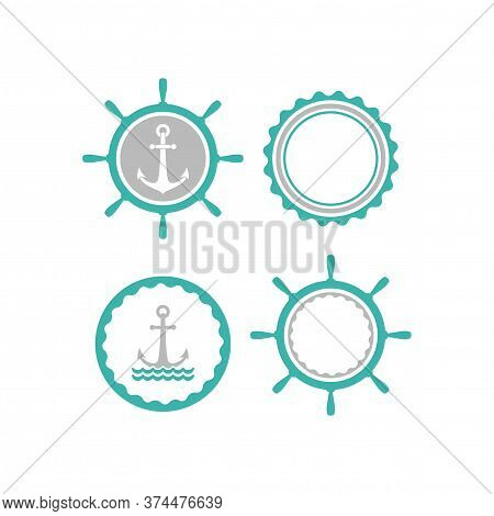 Blue Nautical Labels Set. Helm And Anchor Isolated On White. Ship And Boat Steering Wheel Sign.