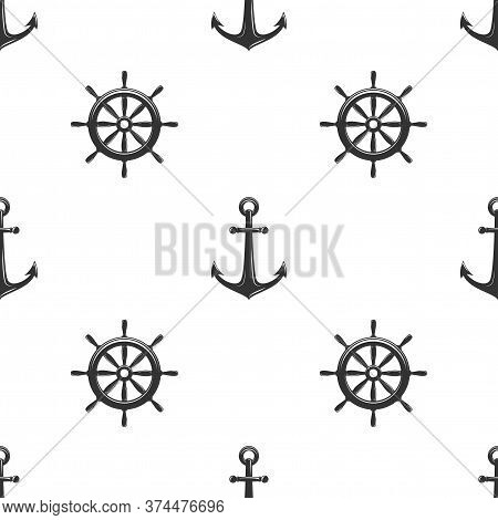 Nautical Seamless Pattern With Black Helms And Anchors On White.