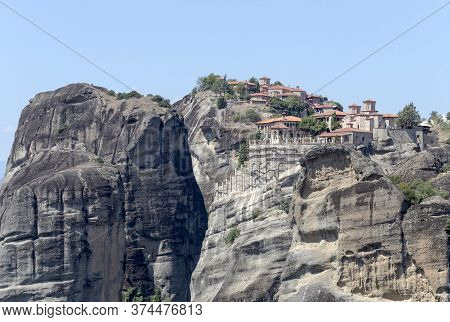The Cliffs On Which The Monasteries Are Located And The View Of The Thessaly Plain (thessaly, Greece