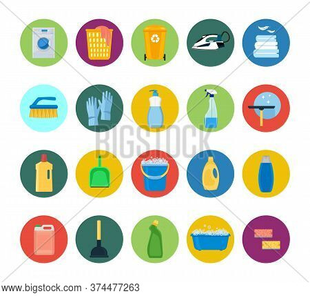 Cleaning. Icons. Washing Machine, Detergents And Cleaning Products For Cleaning The House. Vector Il