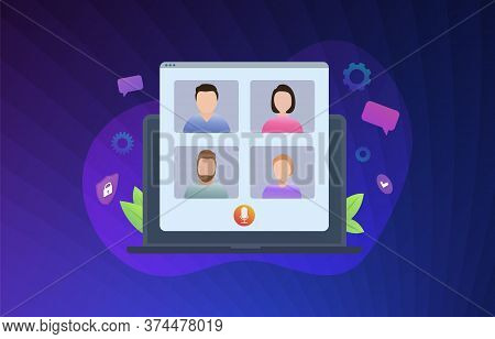 Video Conference Vector Illustration Concept. Online Video Call Meeting Or Webinar With Colleagues,