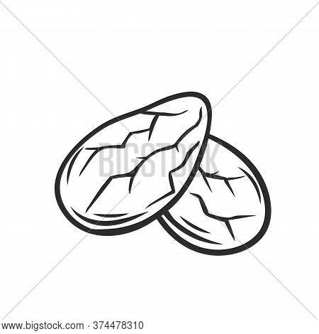 Cocoa Beans Grain Outline Icon. Hand Drawn Monochrome Vector Illustration Of Cocoa Grain In Retro St