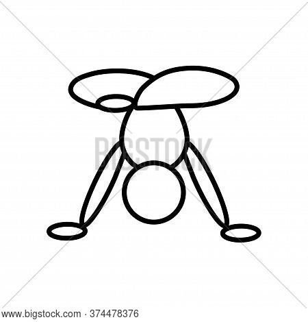 Handstand Pose Yoga Line Icon On A White Background