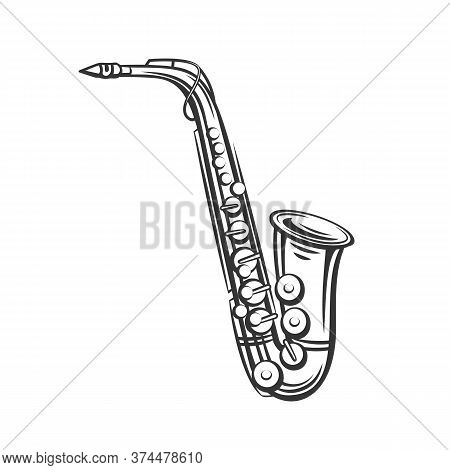 Saxophone Outline Icon. Jazz Musical Instrument In Retro Style. Vector Illustration.
