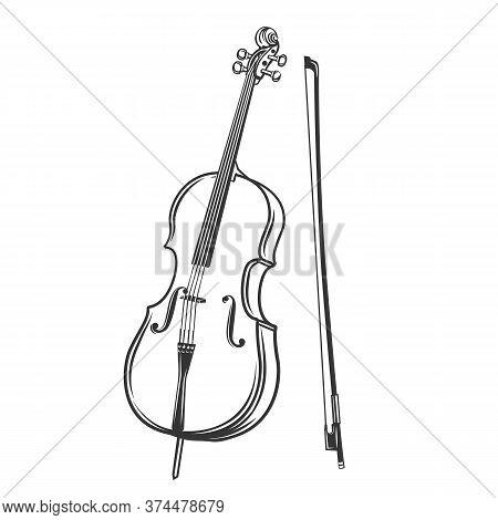 Cello Outline Icon. Violoncello Vector Illustration In Retro Style.