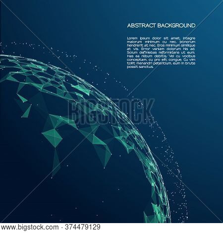 Abstract Vector Colorful Mesh Sphere On Black Background. Big Data. Plexus Effec. Futuristic Vector