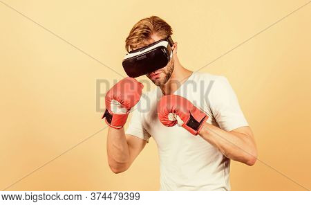 No Pain No Gain. Modern Gadget. Training Boxing Game. Boxing In Virtual Reality. Digital Sport Succe