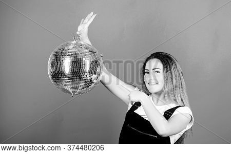Happy Birthday Party. Disco Dancing. Celebrating The Holiday. Girl With Disco Ball. Christmas Holida