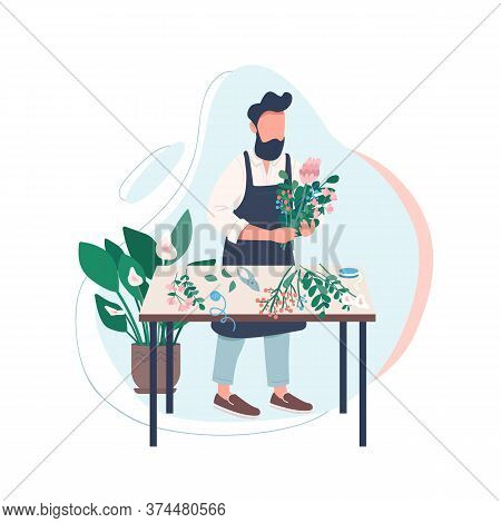 Professional Florist Flat Color Vector Faceless Character. Man Arranging Flowers. Male Gardener. Cre