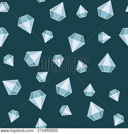 A Seamless Pattern With Faceted Crystals On Monochromatic Background