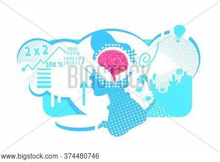 Brain Hemispheres Functions Flat Concept Vector Illustration. Effective Combination Of Thinking Skil