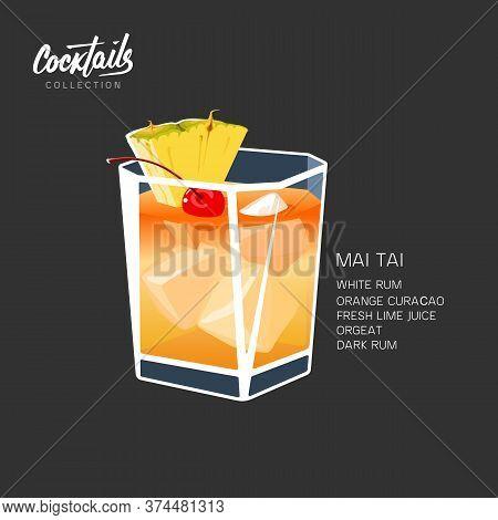 Cocktail Mai Tai Drink Pineapple Cherry Vector Illustration
