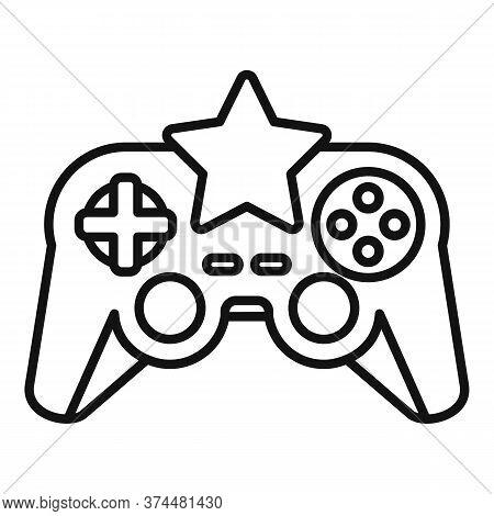 Star Video Game Joystick Icon. Outline Star Video Game Joystick Vector Icon For Web Design Isolated
