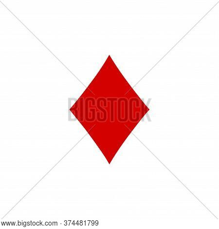 Diamond Icon Of Playing Card Icon On White Background. Flat Style. Diamond Icon For Your Web Site De
