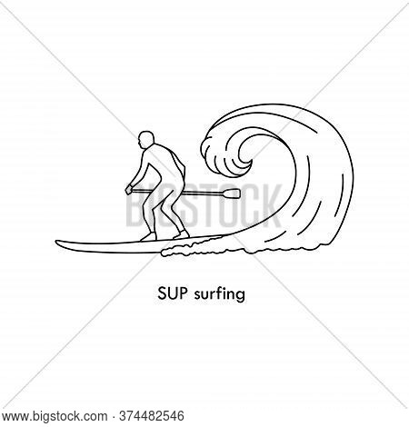 Stand Up Paddle Logo. Silhouette Of Sup Surfer. Trendy Types Of Water Activities. Vector Icon In Fla