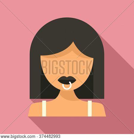 Student Lips Piercing Icon. Flat Illustration Of Student Lips Piercing Vector Icon For Web Design