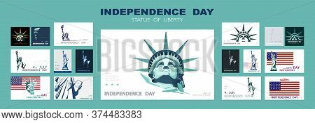 Independence Day Portrait Statue Of Liberty, Poster Presentation. Set Of Green Flat Design Templates