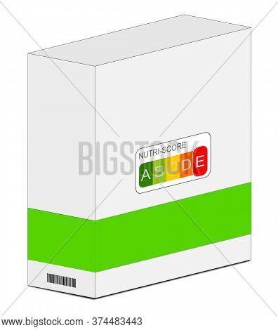 Nutri-score Label E On A Carton, 5-colour Nutrition Label - 3d Illustration