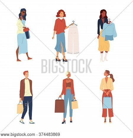 Shopping Concept. Fashion People, Buyers Or Customers With Trendy Fashion Clothes. Characters Make P