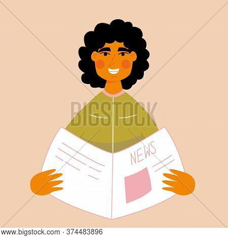 Smiling Guy Reads The News Newspaper. Emotion From The News. Good News. Colored Flat Vector Illustra
