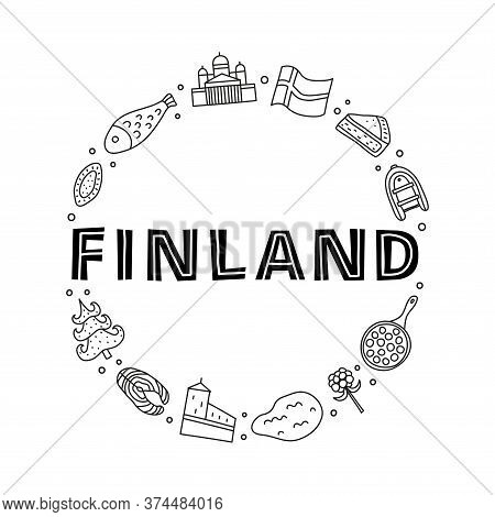 Doodle Outline Finland Icons Including Helsinki Cathedral, Deer, Lake, Cloudberry, Olafs Castle, Pas