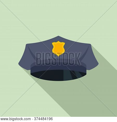 Police Officer Cap Icon. Flat Illustration Of Police Officer Cap Vector Icon For Web Design