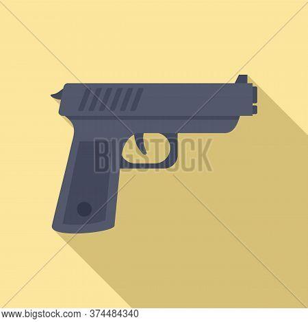 Policeman Gun Icon. Flat Illustration Of Policeman Gun Vector Icon For Web Design