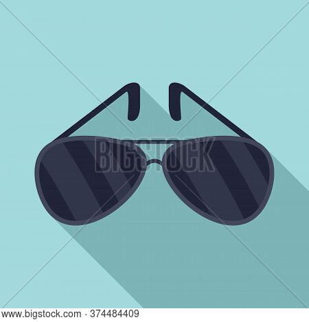 Policeman Sunglasses Icon. Flat Illustration Of Policeman Sunglasses Vector Icon For Web Design