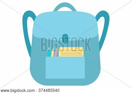 Blue School Bag With A Pocket With Pencils And A Notebook. Vector Illustration In A Flat Style Isola