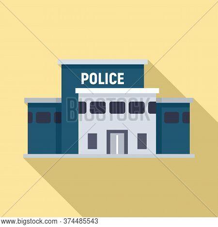 Police Station Building Icon. Flat Illustration Of Police Station Building Vector Icon For Web Desig
