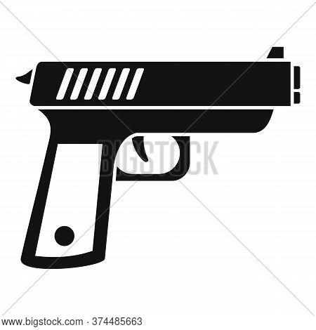 Policeman Gun Icon. Simple Illustration Of Policeman Gun Vector Icon For Web Design Isolated On Whit