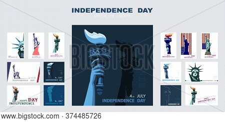Independence Day Poster, Hand With Torch, Presentation, Banner. Statue Of Liberty, Set Of Flat Blue