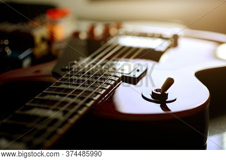 Electric Guitar And Effect, Electric Guitar,used To Play Music And Notes, For Sing A Song, Macro Abs
