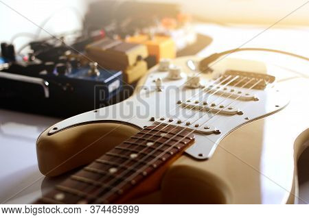 Electric Guitar  And Effect, Electric Guitar,used To Play Music And Notes, For Sing A Song, Macro Ab
