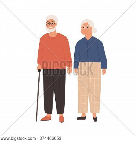 Elderly Couple Standing Together. Grandfather With Walking Stick And Grandmother. Senior Man And Wom