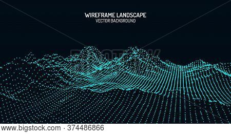 Vector Retro Futuristic Background. Abstract Digital Landscape With Particles Dots And Stars On Hori