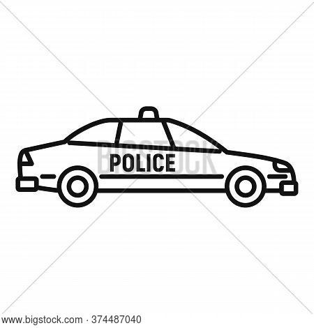 Police Car Icon. Outline Police Car Vector Icon For Web Design Isolated On White Background