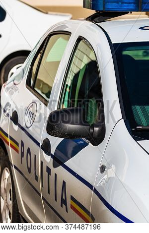 Detail Of Police Car, Close Up Isolated. Local Police Car On The Streets Of Lugoj, Romania, 2020.