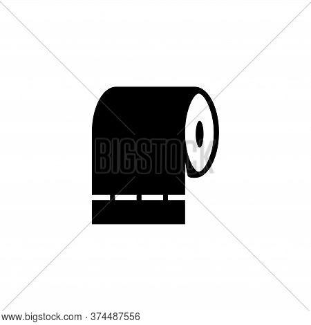 Toilet Tissue Paper Roll, Hygiene Napkins. Flat Vector Icon Illustration. Simple Black Symbol On Whi