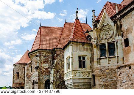 Hunyad Castle - Corvin's Castle In Hunedoara, Romania, 2020. Exterior Architectural Detail.
