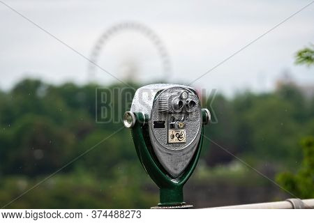 Tourist Binoculars At American Side Of Niagara Falls, New York, Usa