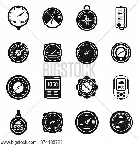 Weather Barometer Icons Set. Simple Set Of Weather Barometer Vector Icons For Web Design On White Ba