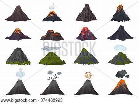 Volcano Icons Set. Cartoon Set Of Volcano Vector Icons For Web Design
