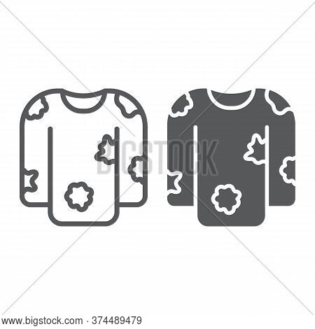 Dirty Laundry Line And Glyph Icon, Laundry And Clothes, Untidy Shirt Sign, Vector Graphics, A Linear